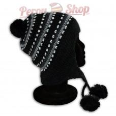 Bonnet péruvien pompon noir