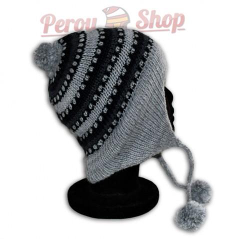 Bonnet péruvien pompon gris clair