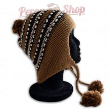 Bonnet péruvien pompon marron clair