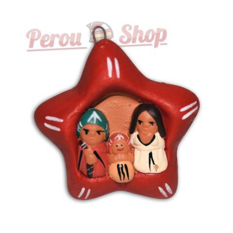 Pendentif déco sapin modèle crèche péruvienne étoile