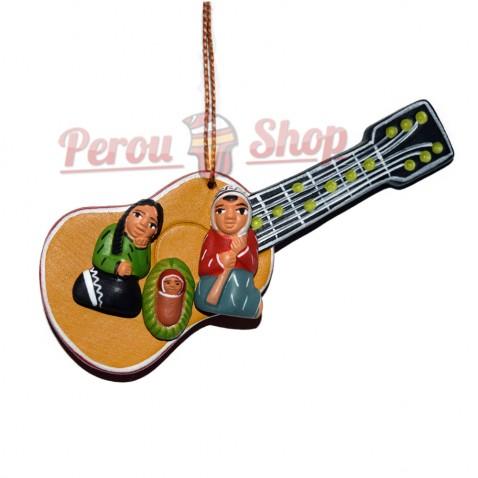 Pendentif déco sapin modèle crèche péruvienne guitarre andine
