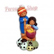 Crèche des Andes Péruviennes modèle Familia Andina