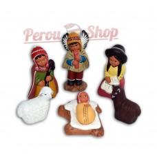 Crèche péruvienne modèle bergers des Andes avec ange