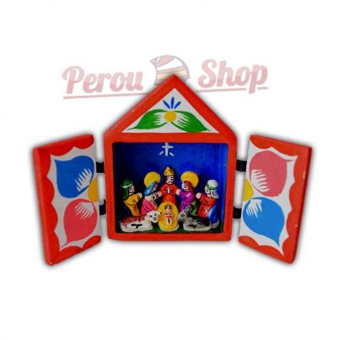 Retable péruvien en miniature modèle crèche péruvienne taille 9 cm
