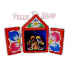 Retable péruvien en miniature modèle crèche péruvienne taille 7 cm