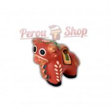 Mini taureau de Pucara couleur ocre rouge