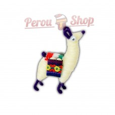 Magnet frigo Lama Andin avec tissu péruvien