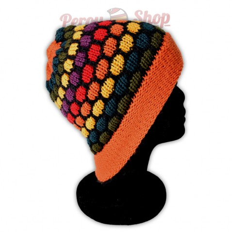 Bonnet adulte multicolore orange
