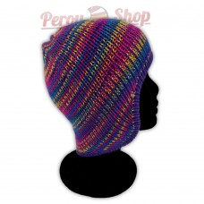 Bonnet péruvien modèle Pérou couleur violet multicolore