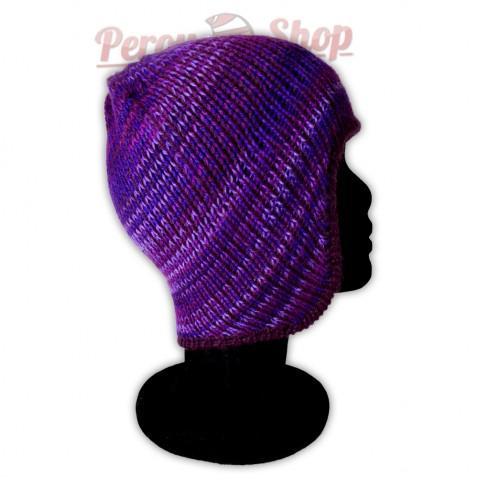 Bonnet péruvien modèle Pérou couleur violet foncé