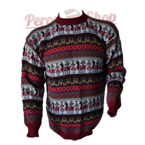 Pull péruvien homme en laine d'alpaga modèle lamas