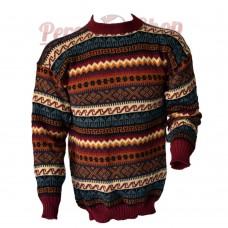 Pull péruvien homme en laine d'alpaga modèle géométrique