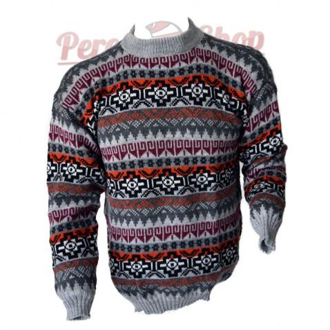 Pull péruvien homme en laine d'alpaga modèle chakana