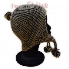 Bonnet péruvien beige et gris