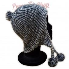 Bonnet péruvien gris et blanc