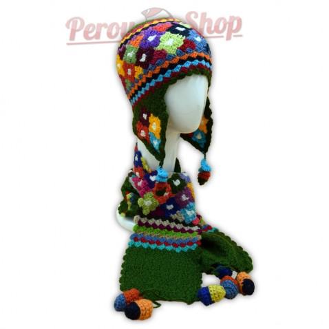 Bonnet Péruvien et écharpe en laine d'alpaga couleur vert