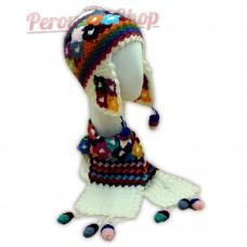 Bonnet Péruvien et écharpe en laine d'alpaga couleur blanc