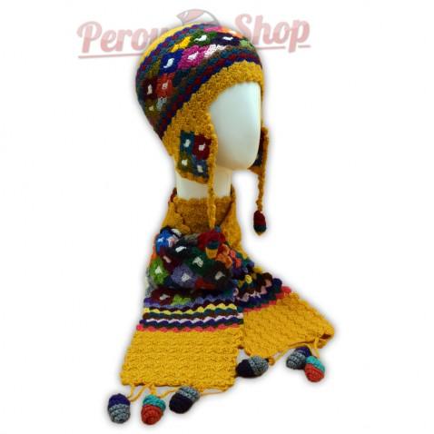 Bonnet Péruvien et écharpe en laine d'alpaga couleur jaune safran