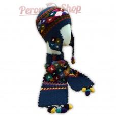 Bonnet Péruvien et écharpe en laine d'alpaga couleur bleu acier