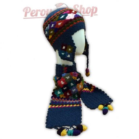 Bonnet Péruvien et écharpe en laine d alpaga couleur bleu acier e5900fecb2c