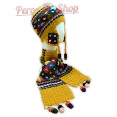 Bonnet Péruvien et écharpe en laine d'alpaga couleur jaune safran 2