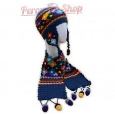 Bonnet Péruvien et écharpe en laine d'alpaga couleur bleu acier 2