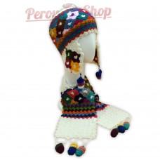 Bonnet Péruvien et écharpe en laine d'alpaga couleur blanc 2