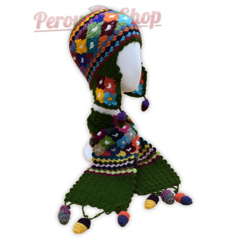 Bonnet Péruvien et écharpe en laine d'alpaga couleur vert 2