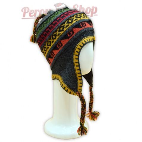 Bonnet Péruvien en laine d'alpaga couleur gris