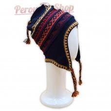 Bonnet Péruvien en laine d'alpaga couleur bleu marine