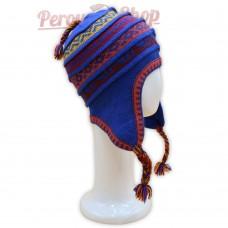 Bonnet Péruvien en laine d'alpaga couleur  bleu saphir
