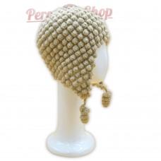 Bonnet Péruvien en pure laine d'alpaga couleur beige