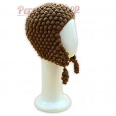 Bonnet Péruvien en pure laine d'alpaga couleur marron
