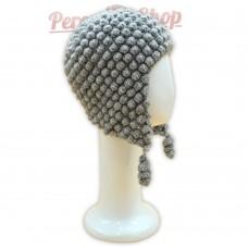 Bonnet Péruvien en pure laine d'alpaga couleur gris