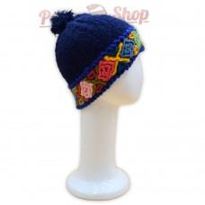 Bonnet baby alpaga couleur bleu