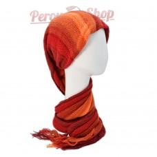 Echarpe bonnet en alpaga couleur rouge