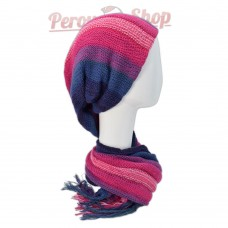 Echarpe bonnet en alpaga couleur rose