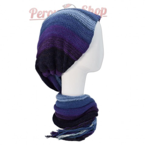 Echarpe bonnet en alpaga couleur violet