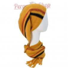 Echarpe bonnet en alpaga couleur jaune moutarde