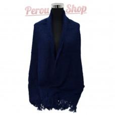 Châle en laine d'alpaga bleu marine