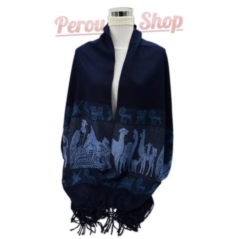 Étole laine alpaga bleu