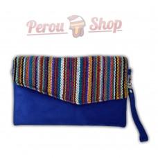 Clutch sac pochette bandoulière tissu péruvien