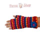 Mitaines laine d'alpaga multicolore