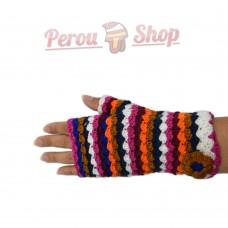 Mitaines multicolore en laine d'alpaga