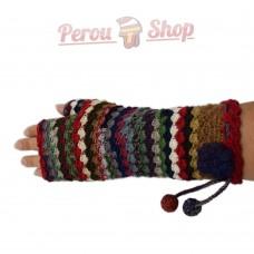 Mitaines longues en laine d'alpaga multicolore