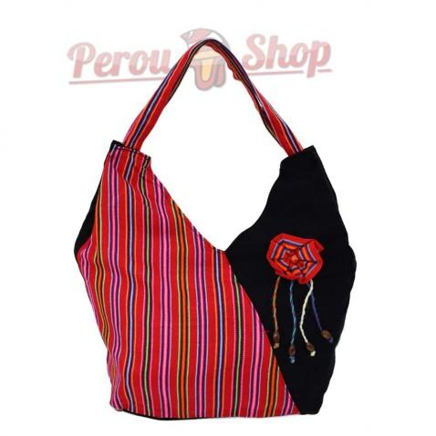 Sac à main en tissu péruvien couleur rouge multicolor