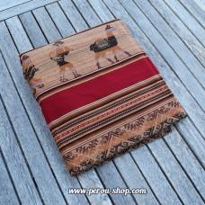 Tissu péruvien bordeaux avec motifs Inca