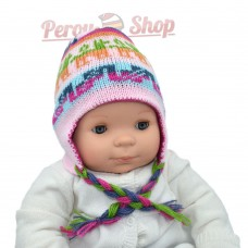 Chapeau peruvien pour bébé réversible couleur rose
