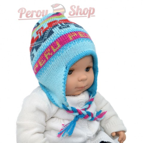 Bonnet peruvien bébé réversible bleu et turquoise