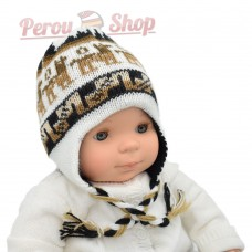 Bonnet péruvien bébé tricot réversible modèle lamas